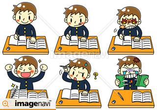 男の子が勉強中のイラスト