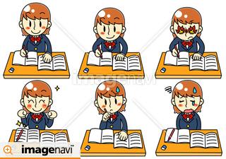 女の子が勉強中のイラスト