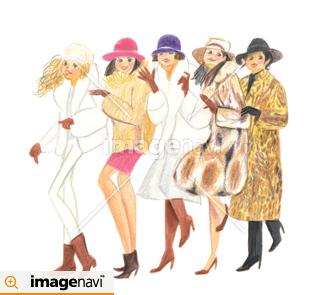 冬服を着た女性5人組